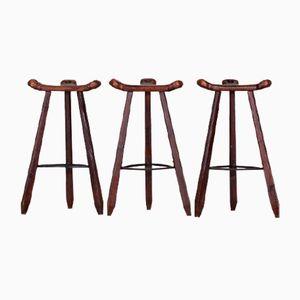 Vintage Brutalist Spanish Marbella Oak Bar Stools, Set of 3