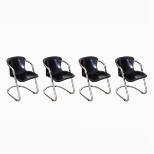 Italian Tubular Chrome Dining Chairs by Willy Rizzo for Cidue, 1970s, Set of 4