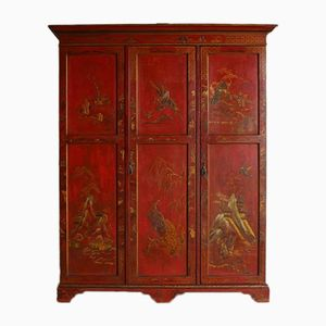 Vintage English Chinoiserie Red Lacquer Wardrobe, 1920s