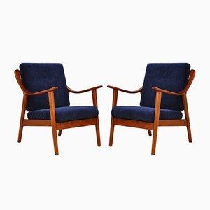 Marineblaue Sessel, 1960er, 2er Set