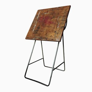 Table de Peintre Vintage Industrielle en Bois, 1960s