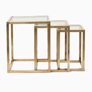 Italian Brass Nesting Tables, 1970s