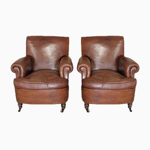 Vintage Italian Leather Armchairs, 1920s, Set of 2