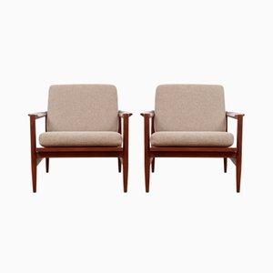 Scandinavian Teak Armchairs, Set of 2