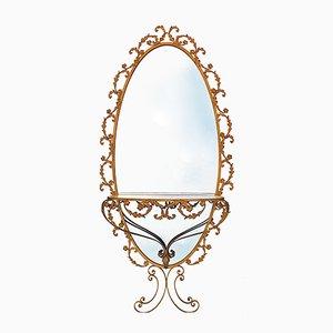 Großer ovaler Spiegel mit Konsole in Gold von G. Battista, 1950er