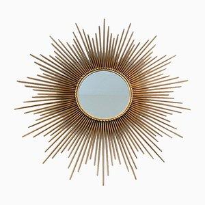 Französischer vergoldeter Metall Sunburst Spiegel von Chaty Vallauris, 1960er