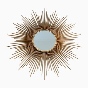 French Gilded Metal Sunburst Mirror from Chaty Vallauris, 1960s