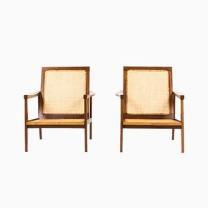 Mahogany and Cane Armchairs, 1950s, Set of 2