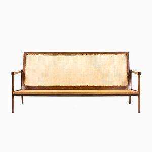 Sofa aus Mahagoni & Binse, 1950er