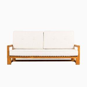 Kiefer Sofa mit beigefarbenen Kissen, 1950er