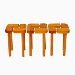 Pine Stools, 1960s, Set of 3