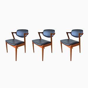 Vintage Teak Dining Chairs by Kai Kristiansen for Schou Andersen, 1960s, Set of 3