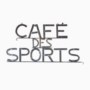 Letrero Cafe des Sports francesa vintage de metal