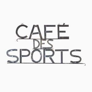 Vintage French Metal Cafe des Sports Sign