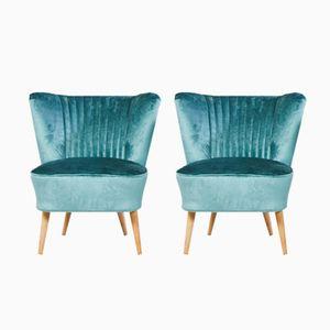 Blauer Samt Sessel, 1970er