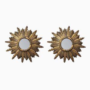Vintage Spanish Gilded Sunburst Mirrors, 1950s, Set of 2