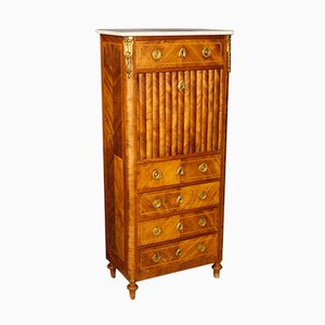 Antique French Inlaid Secrétaire with Marble Top, 1880s