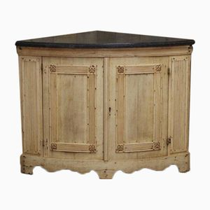 Antique Corner Cupboard in Bleached Oak with Marble Top, 1850s