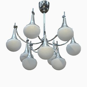 9-Light Brushed Aluminum & Glass Chandelier by Gaetano Sciolari, 1960s
