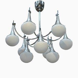 Kronleuchter mit 9 Lampen aus gebürstetem Aluminium & Glas von Gaetano Sciolari, 1960er