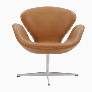 Mid-Century Swan Stuhl aus Leder von Arne Jacobsen für Fritz Hansen, 2007