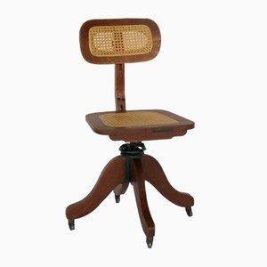 Antiker Holz & Geflecht Schreibmaschinen Stuhl für Cook Company, 1900er