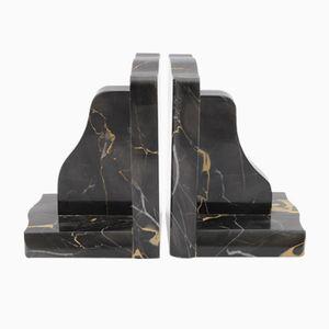 Black Portoro Marble Bookends, 1930s, Set of 2