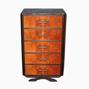 Art Deco French Walnut Chest of Drawers, 1930s