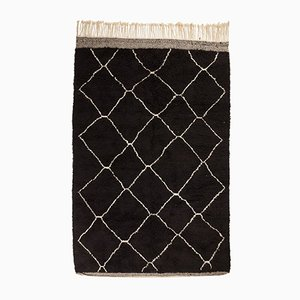 Contemporary Moroccan Black Berber Carpet from Beni Ouarain