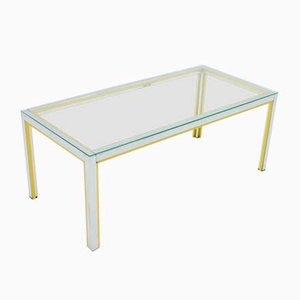 Chrome, Brass, & Glass Coffee Table by Renato Zevi for Romeo Rega, 1970s