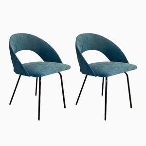 Mid-Century Stühle aus blauem Samt, 2er Set