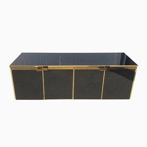 Anrichte mit 5 Türen aus Messing und schwarzem Glas von Maison Jansen, 1970er