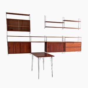 "Mid-Century Large Rosewood Wall System & Table by Kajsa & Nils ""Nisse"" Strinning for String"