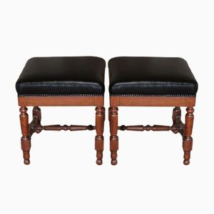 Antique French Oak Stools, 1880s, Set of 2