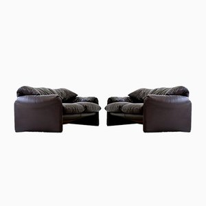 Vintage Maralunga 2-Seater Sofas by Vico Magestretti for Cassina, 1970s, Set of 2