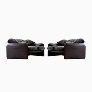 Vintage Maralunga 2-Sitzer Sofas von Vico Magestretti für Cassina, 1970er, 2er Set