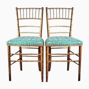 Französische Mid-Century Stühle in Bambus Optik von Siege Collinet, 2er Set