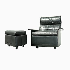 Vintage 620 Armchair and Footstool by Dieter Rams for Vitsoe, 1980s