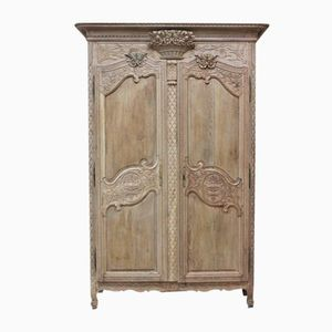 Antique French Normandy Marriage Armoire in Bleached Oak