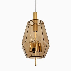 Smoked Glass & Brass Pendant Light from Limburg, 1960s