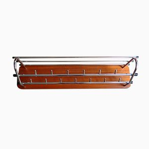 Vintage Chrome Plated Double Coat Rack with Wooden Base