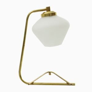 Lampe de Bureau en Laiton et Verre Opalin, Italie, 1950s