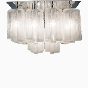 Large Granada Ice Glass Ceiling Lamp from Kalmar, 1960s