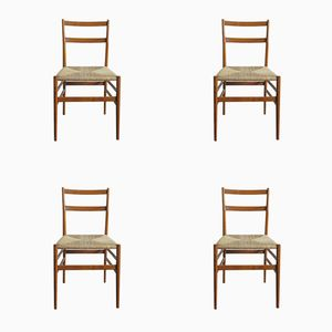 Vintage Italian Leggera Chairs by Gio Ponti for Cassina, 1950s, Set of 4
