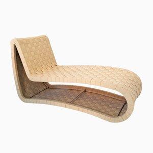Chaise longue escandinava de contrachapado y cinchas, años 70