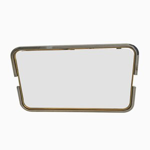 Italian Mirror with Chrome and Brass Frame, 1970s