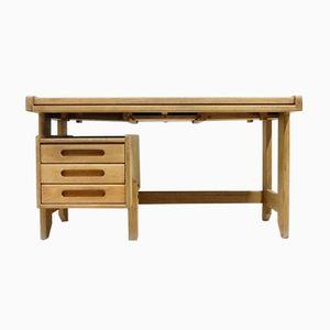 Französischer Vintage Eichenholz Schreibtisch von Guillerme et Chambron für Votre Maison
