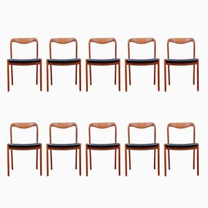 Vintage Danish Teak Dining Chairs, 1960s, Set of 10