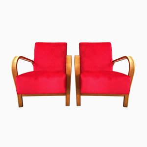 Art Deco HF11 Red Velvet Bentwood Armchairs by Jindřich Halabala, 1950s, Set of 2