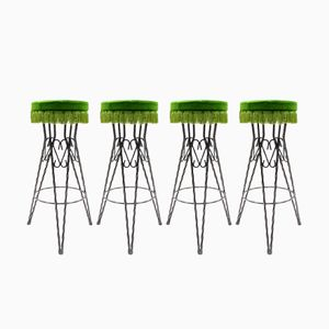 Mid-Century Green Bar Stools, 1950s, Set of 4